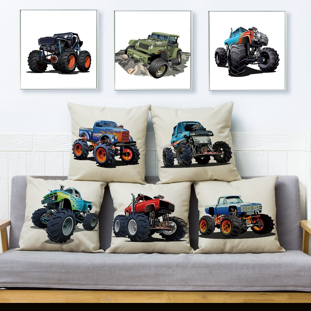 USA Monster Truck Car Cartoon SUV Pattern Cushion Cover Linen Pillow Covers 45*45cm Pillows Case Home Decoration Pillowcase