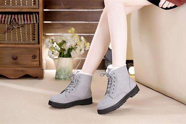 Snow boots 2019 warm fur plush Insole square heels