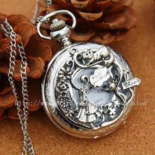 alice in wonderland steel pocket watch quartz mens steampunk chain necklace pendant vintage 1pcs/lot antique friends gift clock