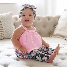 Новые летние сандалии для маленьких девочек в европейском и американском стиле; хлопковый топ без рукавов с бретельками; милая Одежда для новорожденных с розовым бантом