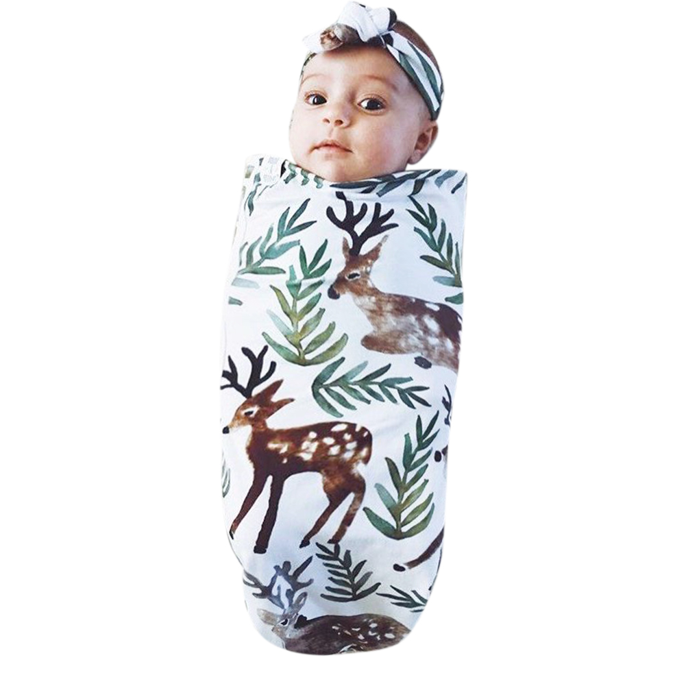 60x80cm Newborn Babys Swaddle Wrap Thin Elk Printing Baby Photography Props Swaddling Blanket Cotton Blend Nap Quilt