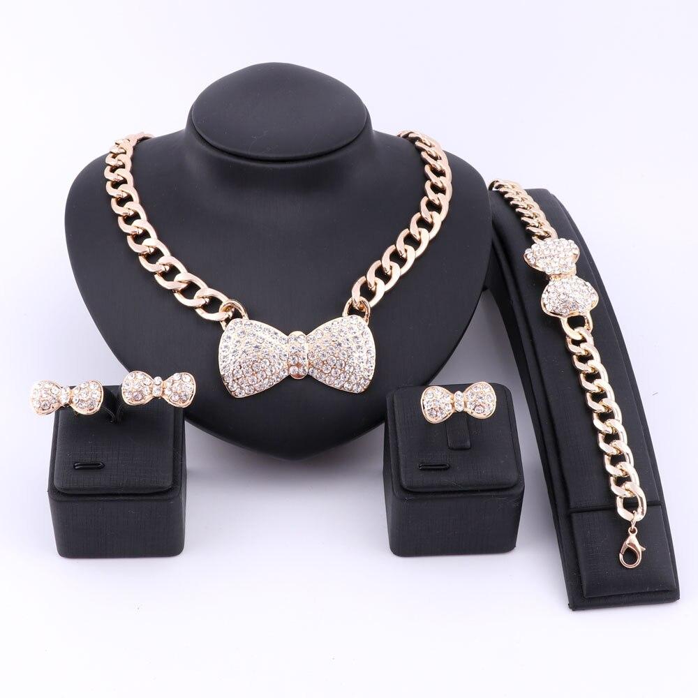 Presente de noiva nigeriano bowknot casamento contas africanas conjunto de jóias moda dubai ouro cor strass cristal colar conjunto de jóias