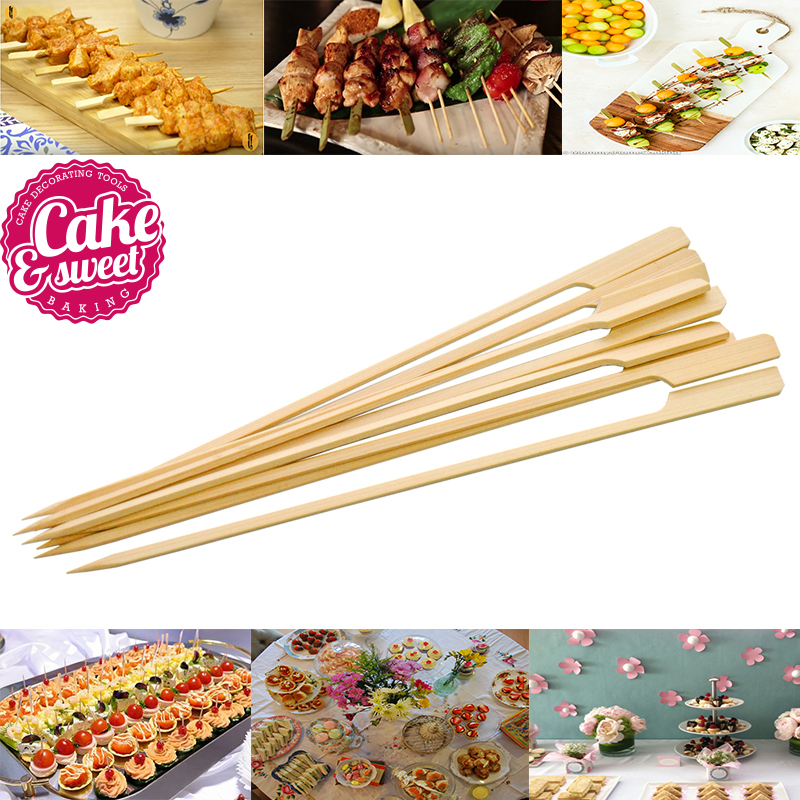 100/200pcs 6 inch Bamboo Skewers Paddle Sticks For BBQ Fruit Toothpicks Party Supplies C ...