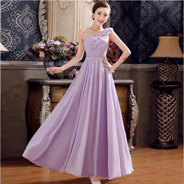 Dusty Blush Pink One Shoulder Bridemaides Pleated Chiffon Bridesmaids Dresses Zipper Back Long Formal Light Purple Dress B2583 In Bridesmaid From