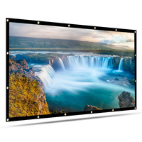 Portable 100 120 Inch Projector Screen Foldable HD 16:9 PVC Projection Screen for Indoor Home Theater Movie Office Travel