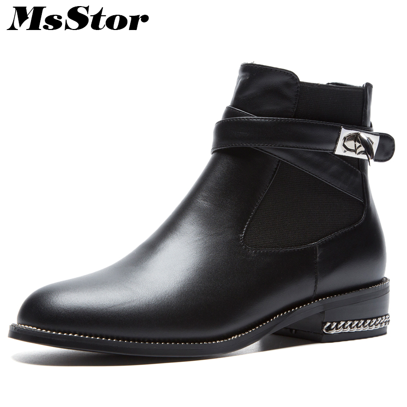MsStor Round Toe Low Heel Women Boots Fashion Metal Buckle Ankle Boots Women Shoes Elegant Sexy Square heel Boots Shoes Woman