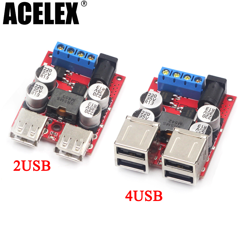 DC-DC vehicle charging module 8V-35V 5V 8A power supply depressurization 4 port USB output mobile charger