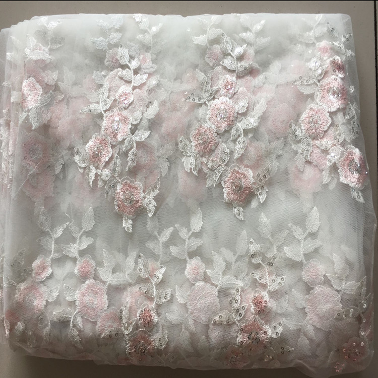 1Meter Lot Sequin Embroidered Fabric Net Mesh Fabric African Lace Material Sew Wedding Dress Robe Fabric Pink Embroidery Flower in Fabric from Home Garden
