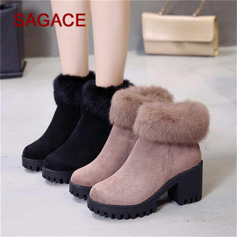 bb2d529a698f HB SAGACE Boots Women Ankle Shoes Flock Thicken Keep Warm Boots Casual  Luxury Snow Shoes