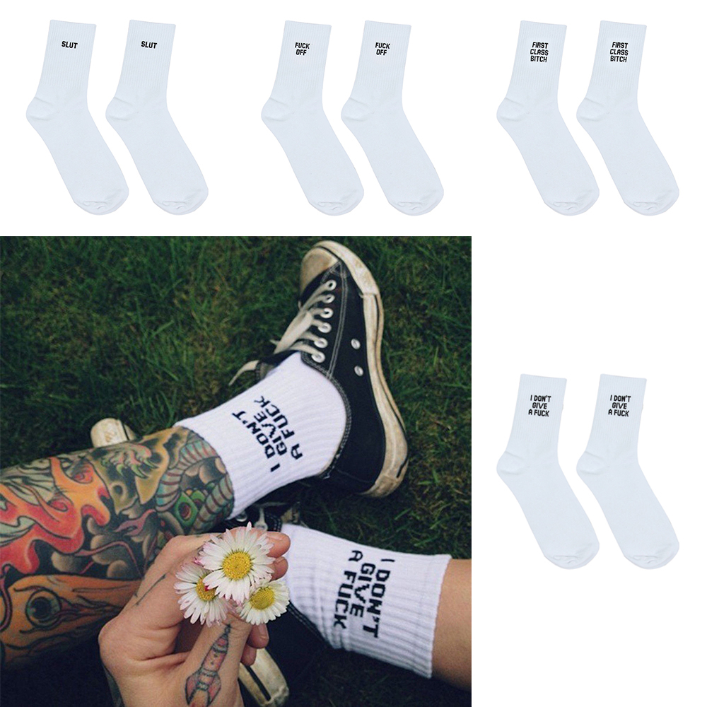 Fashion Breathable Unisex Letter Printed Long   Socks   Funny Casual Sport White Cotton Skateboard   Socks