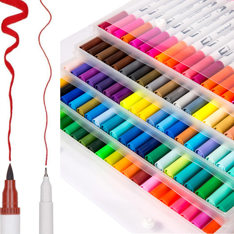 100 Colors Dual Tip Brush Pens with Fineliners Art Markers Watercolor DIY Crafts Soft Brush Pen
