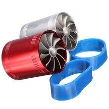 Универсальная Автомобильная Turbo Наддува на входе Воздуха Turbonator Впуска Dual Fan Газа Fuel Saver Красный Хром Алюминий