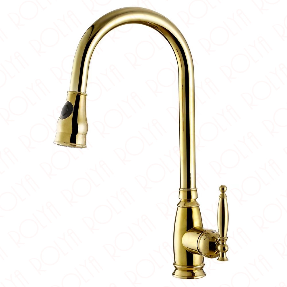 2017 Rushed Luxurious Polished Copper Robinet Para Torneira Cozinha Single Lever Swivel Sink Mixer Gold Kitchen