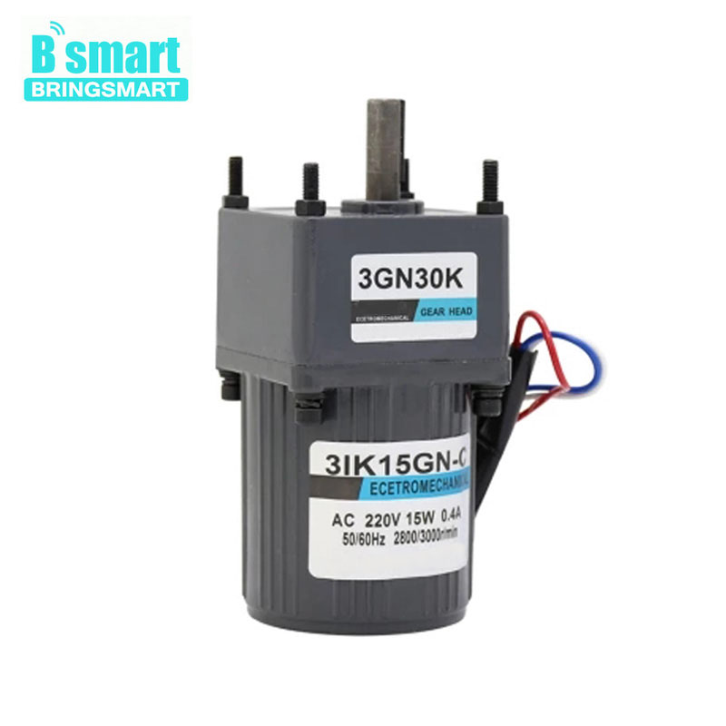 Bringsmart 15W Mini AC Gear Motor 220V Single-Phase Motor Reversible  Fixed Speed Motor 60w ac reversible motor 5rk60gu cf with gear ratio 90 1 output speed is 15 r m gear head 5rgu 90k