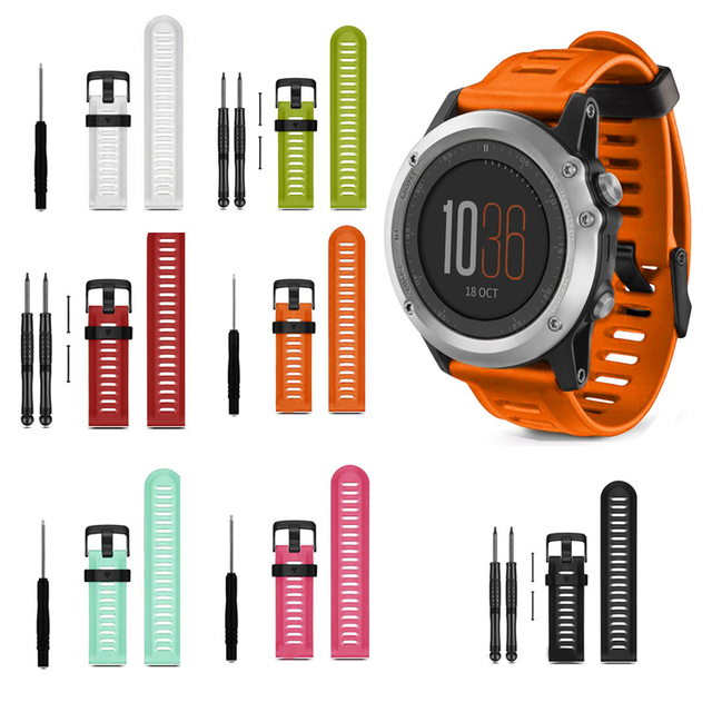 12 Colors 26mm watch Strap Soft Silicone Replacement WatchBand With Tool For Gar