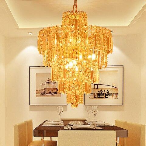 lampada shixnimao crys estilo europeu pingente de cristal de luxo sala de estar sala de