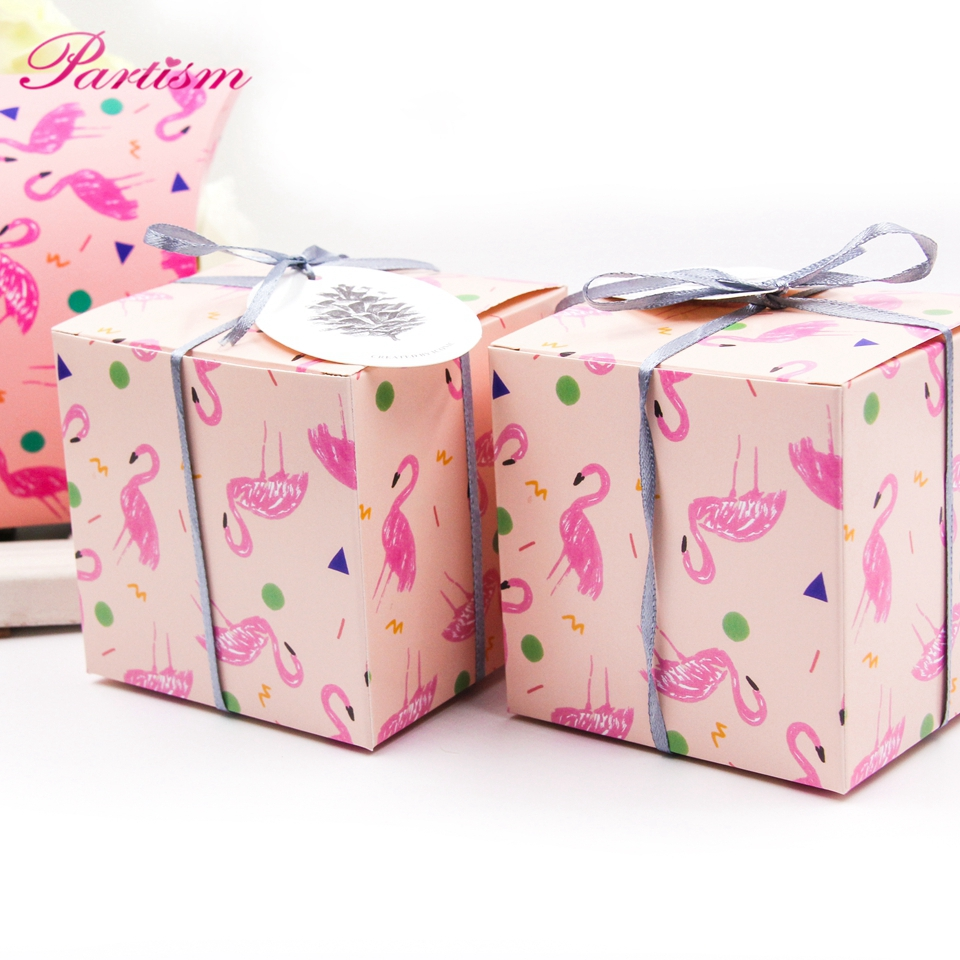 2PCS/Lot Cute Square Flamingo Gift Box Candy Pattern DIY Kraft Paper ...