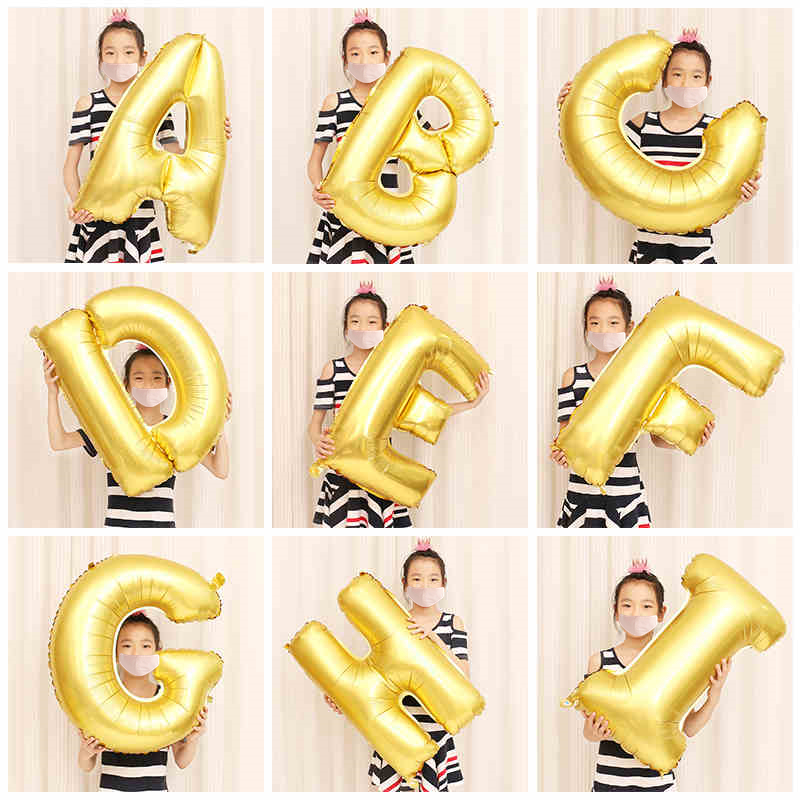 28inch Medium Gold Alphabet Letter Balloons Helium Balloon Birthday