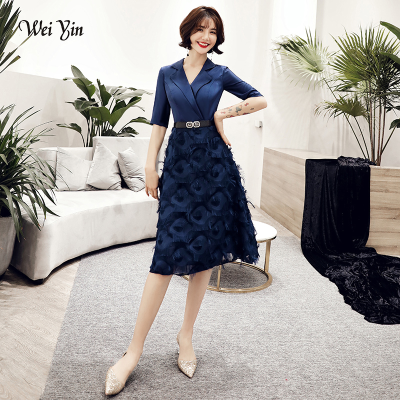 wei yin 2019   Cocktail     Dress   Summer V-Neck Short Sleeve Blue Lace Women Party Fashion Designer Short   Cocktail   Gowns WY1632