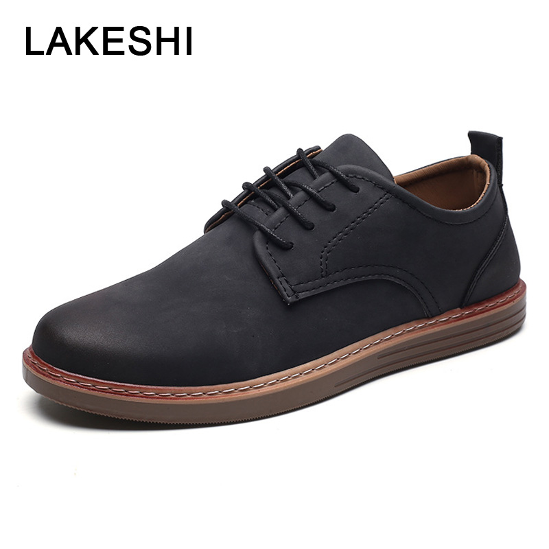 LAKESHI Men Shoes Casual  Comfortable Loafers Fashion Lace-up Quality PU Leather Shoes Men Snekers 2019 Spring Men's Flat Shoes