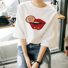 Sequins patch Red lips Applique Fashion embroidery Iron on patches deal with it Stickers for clothes T-shirt/Dress/Jeans/Coat