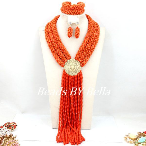 Fashion Orange African Wedding Beads Jewelry Set Nigerian Women Party Event Jewelry Crystal Beads Set Free Shipping ABY385