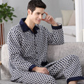 Fall and Winter 2016 Mens Pajama Sets Fashion Thick Cotton Sleepwear Long Sleeve Casual Plaid Male Pijama Warm Lounge Wear M-4XL