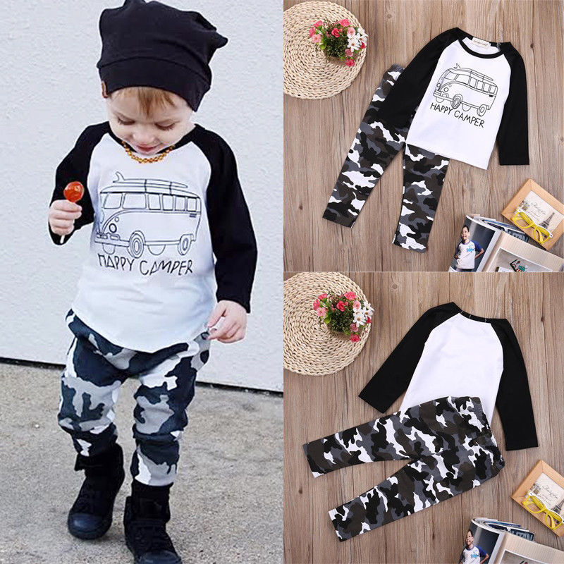 2pcs Toddler Kids Baby Boy Clothes Long Sleeve T-shirt Tops+Pants Casual Outfit Clothing Sets 0-3Y toddler kids baby girls clothing cotton t shirt tops short sleeve pants 2pcs outfit clothes set girl tracksuit