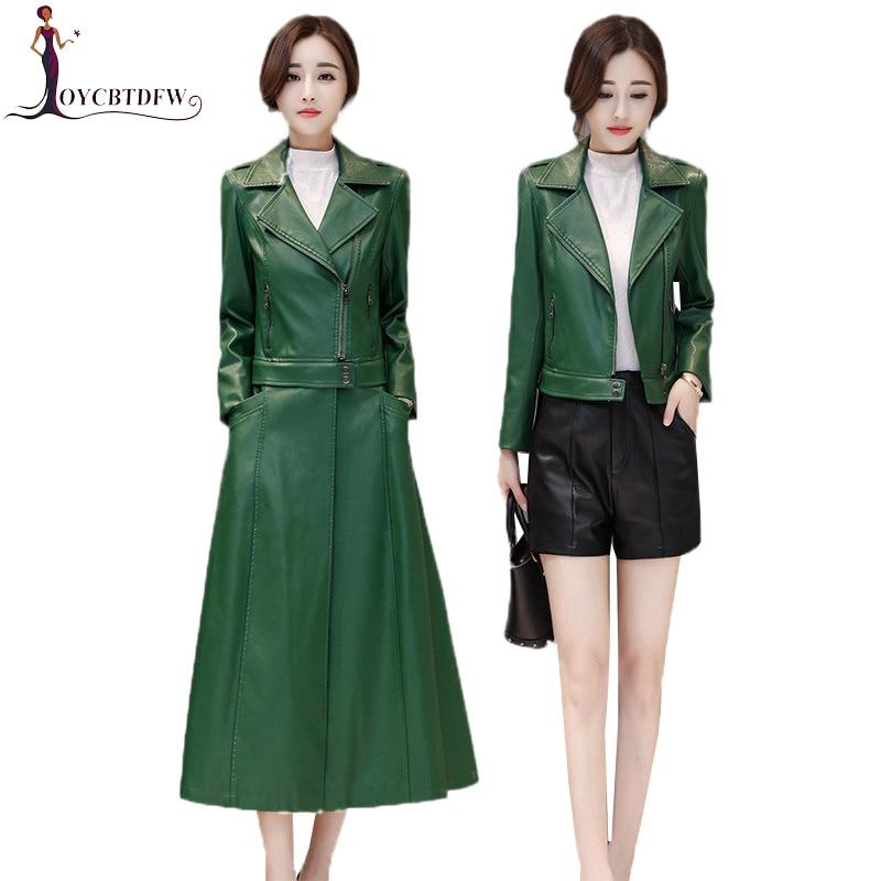 Leather   Jacket Women 2019 Spring New Slim Long Faux   Leather   Windbreaker Autumn Large Size Two Ways Of Wearing Female Coat DD0826