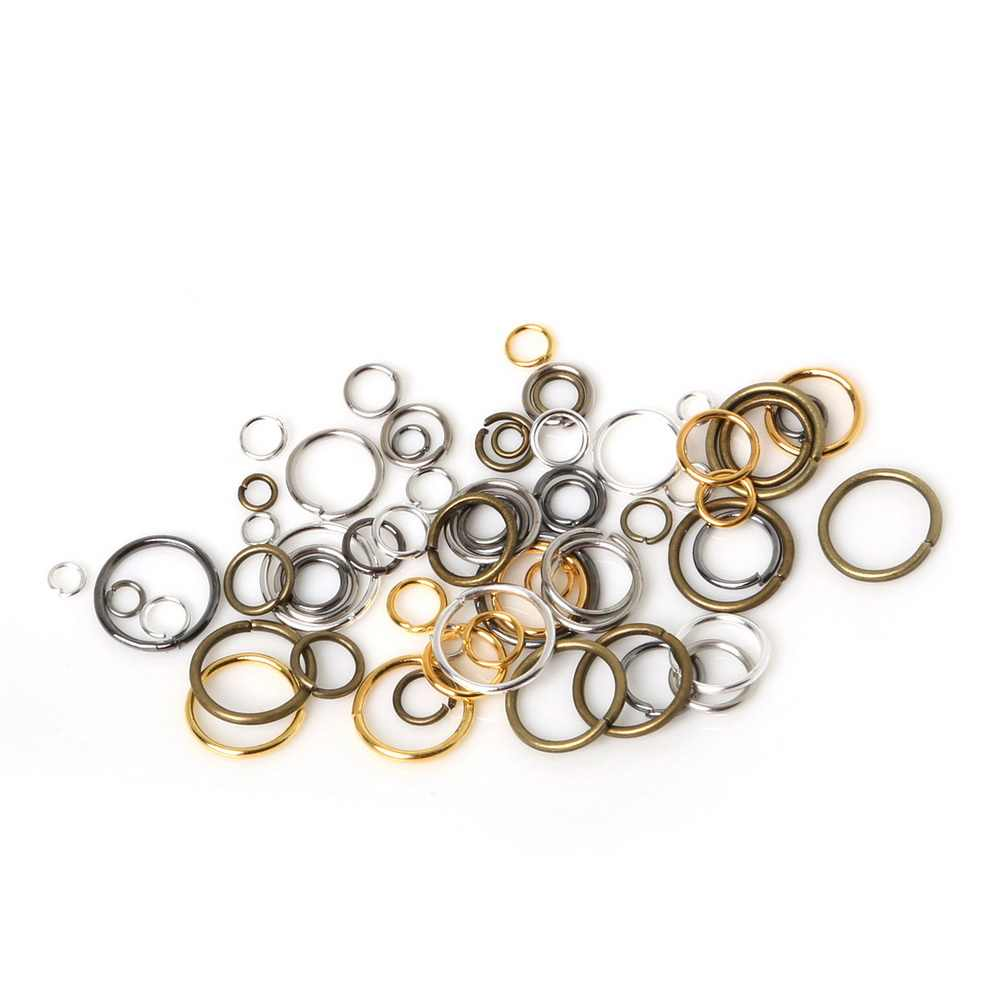 200pcs Metal 6/7/8mm Open Jump Rings & Split Rings Gold/Black/Silver/Bronze Color Connectors for Jewelry Making