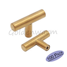 Golden Cabinet knobs and handles Goldenwarm LS201GD Stainless Steel T Bar Drawer Pulls Furniture Hardware 100 PCS