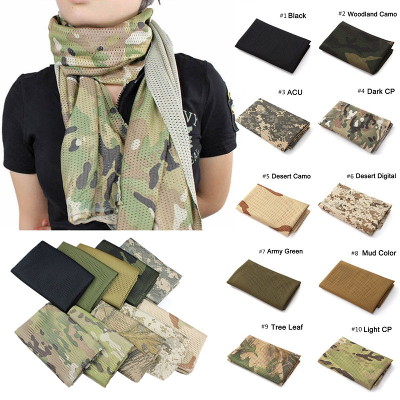 Unisex Multi-purpose Fish Net Mesh Tactical Camouflage Scarf Veil Neckerchief for Activities and War Game H9
