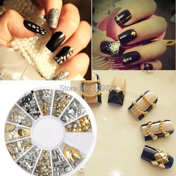 1set mix silvergold nail art 3d glitter rhinestones crystal 1set mix silvergold nail art 3d glitter rhinestones crystal decoration manicure round wheel tips prinsesfo Images