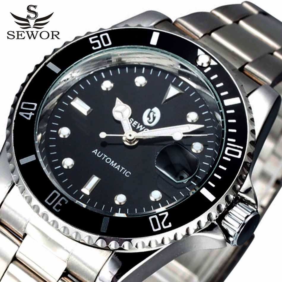 SEWOR Men Wristwatches Auto Date Top Brand Luxury Sport Automatic Mechanical Watch Army Military Watches Relogio Masculino fashion sewor men luxury brand auto date leather casual watch automatic mechanical wristwatch gift box relogio releges 2016 new
