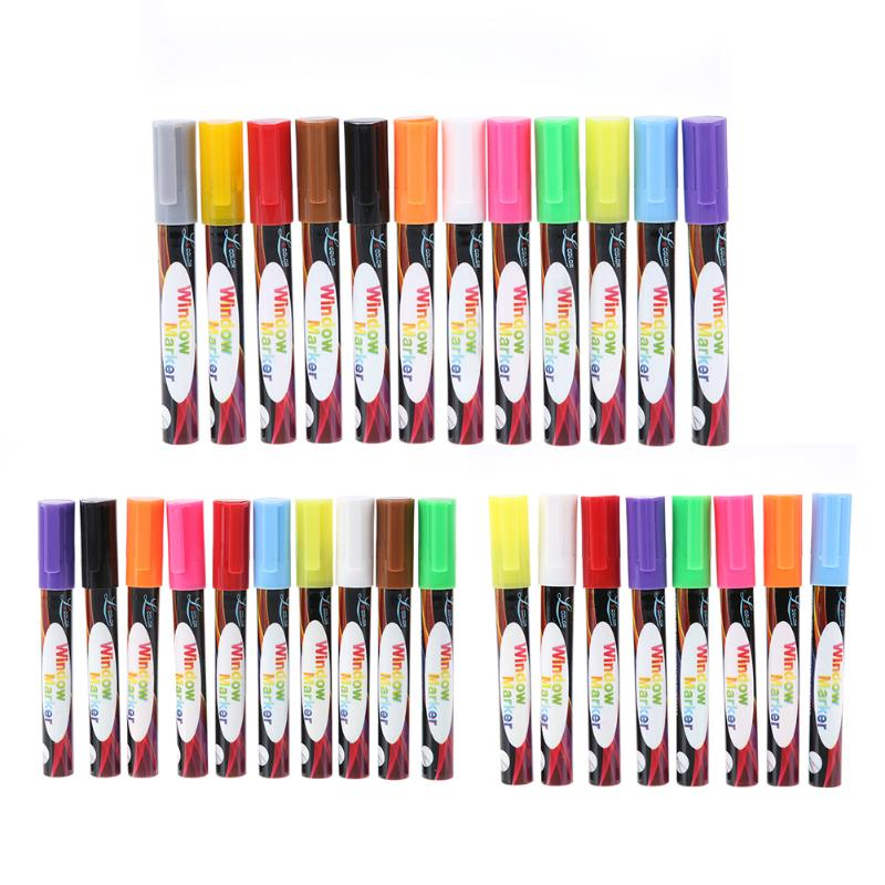 8/10/12Pcs Multicolor Highlighter Set Liquid Chalk Marker Pen for LED Writing Fluorescent Window Glass Board Painting Drawing writing for literacy for ages 7 8