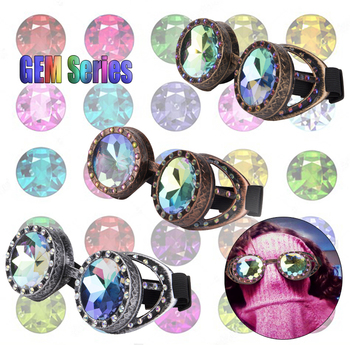 Steampunk Goggles With Colorful Lens Rave Festival Party EDM Glasses Cosplay Vintage Glass Eyewear Gemstone Series 1