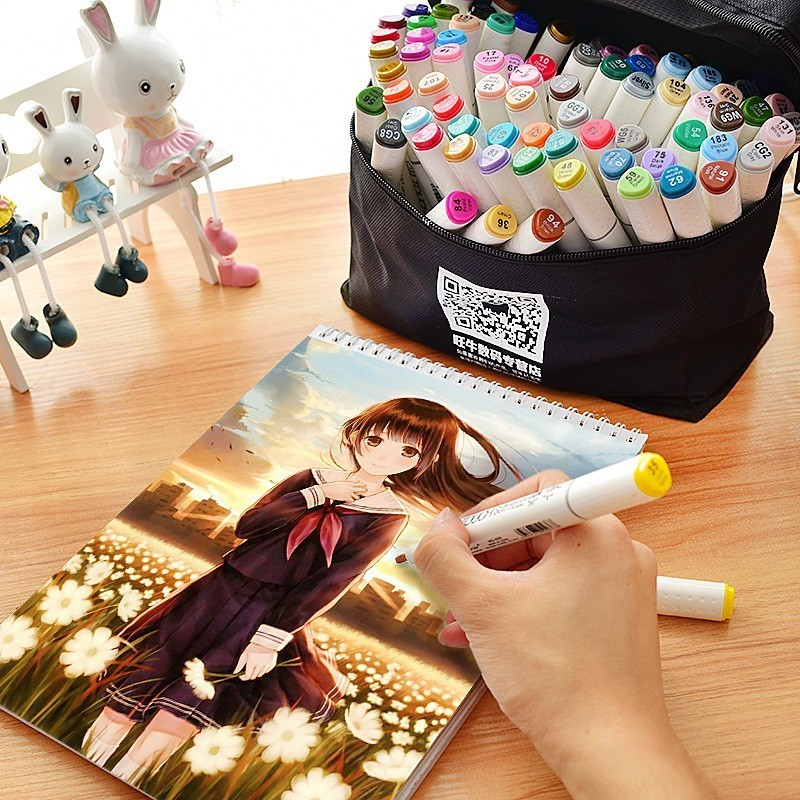 Superior30/40/60/80Colors Dual Head Art Markers Pen Oily Alcoholic Sketch Marker Brush Pen Art Supplies for Animation Manga Draw купить