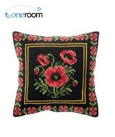 Oneroom CX0189 Red Poppy DIY Acrylic Yarn Embroidery Pillow Tapestry Canvas Cushion Front Cross Stitch Pillowcase