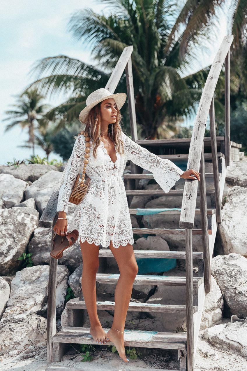 new arrival 2019 summer clothes for women see through mini dress white lace beach party dress sexy club wear long sleeve dress in Dresses from Women 39 s Clothing