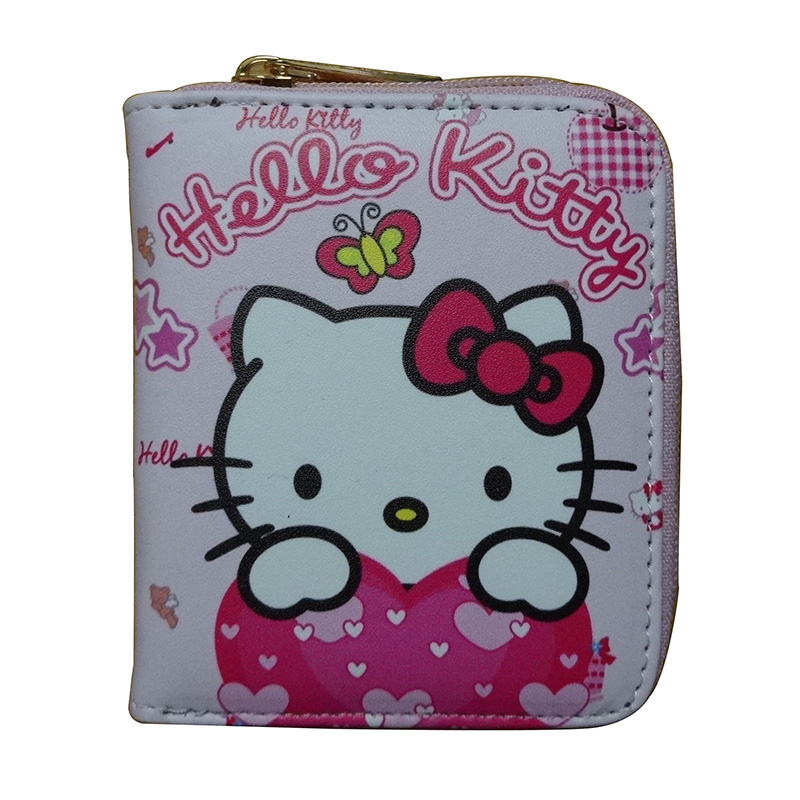 Pink Girls Hello Kitty Coin Purse Women Leather Zipper Wallet Small Card Holder Coin Pocket Gifts Lady Dollar Price Bags cartera new anime style spiderman men wallet pu leather card holder purse dollar price boys girls short wallets with zipper coin pocket
