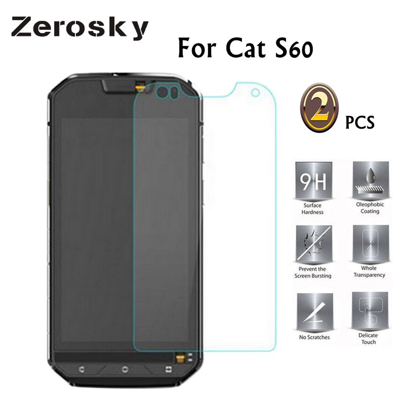 Zerosky 2PCS For Cat S60 Tempered Glass 9H 2.5D Scratch Proof Premium Screen Protector Film For Cat S60 Mobile Phone