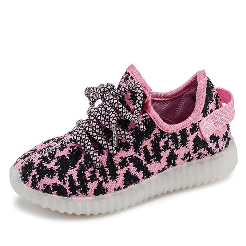 15 Size Hot Led Shoes For Children Lightweight Kids Sneakers Breathable Weave Sneaker Boys And Girls Neon Shoes