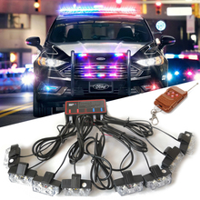 Беспроводной 16 Светодиодный Предупреждение ющий светильник, стробоскоп, полицейский сигнальный светильник s, красный, янтарный, синий светодиодный светильник для дневных ходовых огней, противотуманная фара