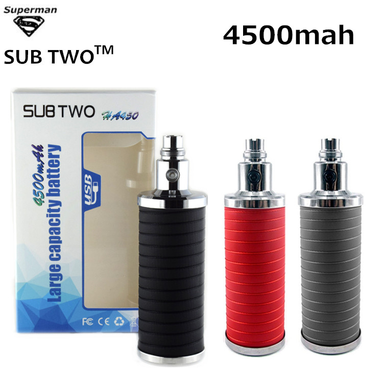 SUB TWO Rechargeable big capacity 4500mah Variable Voltage 3.2V-4.2V E Cig eGo battery vape mod electronic Cigarette Battery authentic 215w ijoy limitless lux dual 26650 battery 8400mah big capacity mod e cig fit limitless rdta plus limitless lux