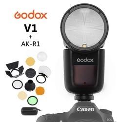 Круглая вспышка Godox V1 для камеры SONY NIKON CANON R2 TTL с AK-R1 Xpro Flash Triger