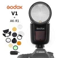 Godox V1 On Camera Round Flash Speedlight for SONY NIKON CANON Camera R2 TTL Flashlight with AK R1 Xpro Flash Triger