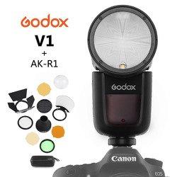 Godox V1 Op-Camera Ronde Flash Speedlight voor SONY NIKON CANON Camera R2 TTL Zaklamp met AK-R1 Xpro Flash triger