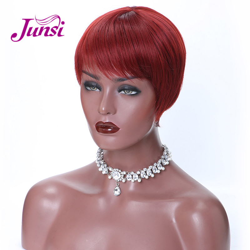 JUNSI Hair Short Red Black Pixie Cut Synthetic Wigs for Women Natural Wigs