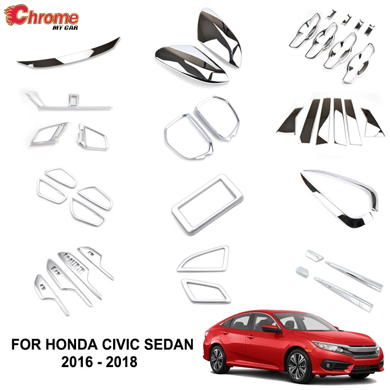 For Honda Accord 2018 2Pcs ABS Chrome Car Side Mirror Cover Molding Trim Decor !