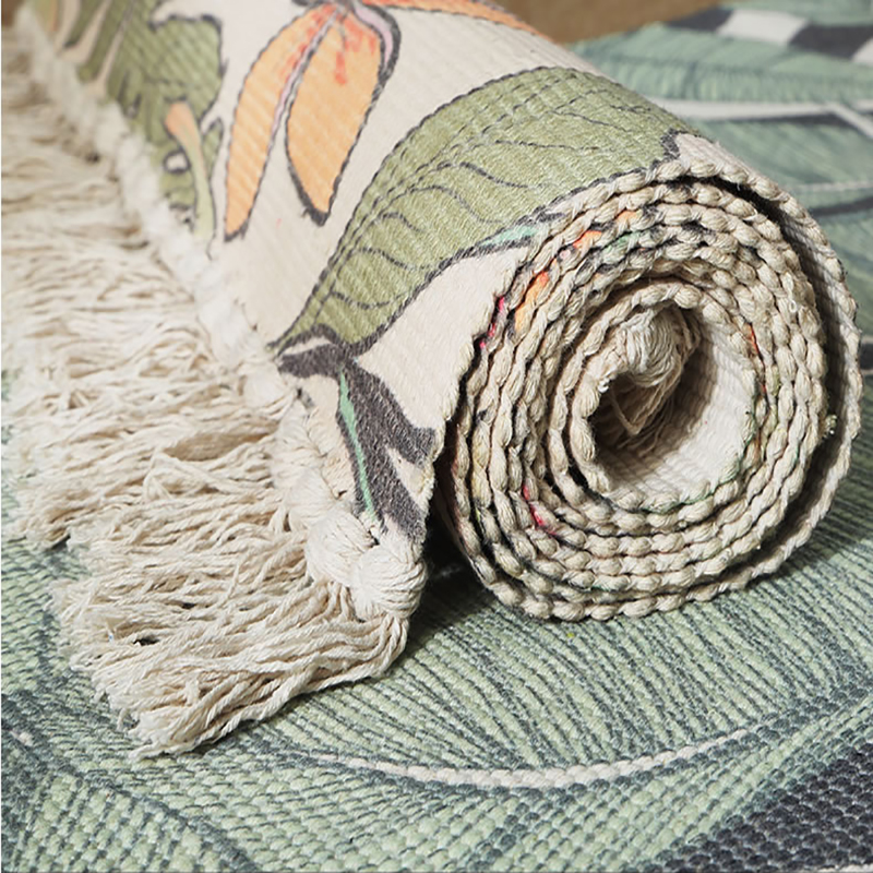100% Cotton Printed Rugs Decorative Flower Tassels Hand Woven Rag Rug Entryway Carpet Mat For Laundry Room Living Room Kitchen